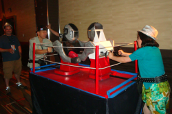 Life Size like rockem sockem boxing ring.