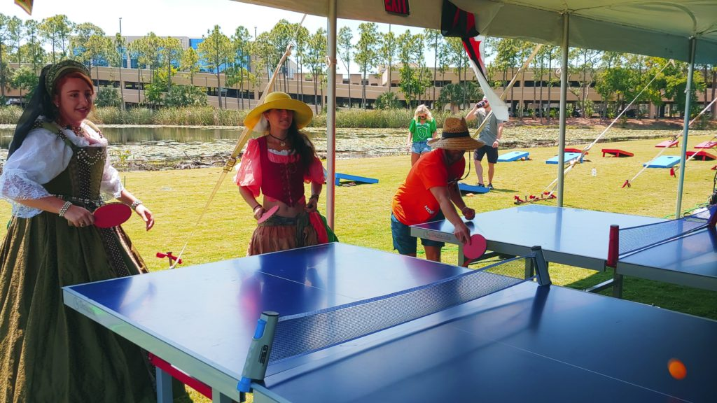 Table Tennis Rental with actors dressed up at an event in St. Pete Florida