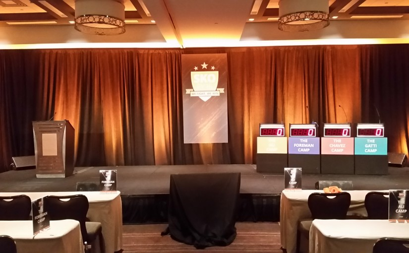 Corporate Event Game show front view with uplighting