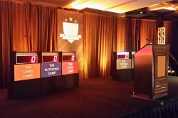 Corporate Event Game Show Rental for your next meeting with 6 full size podiums