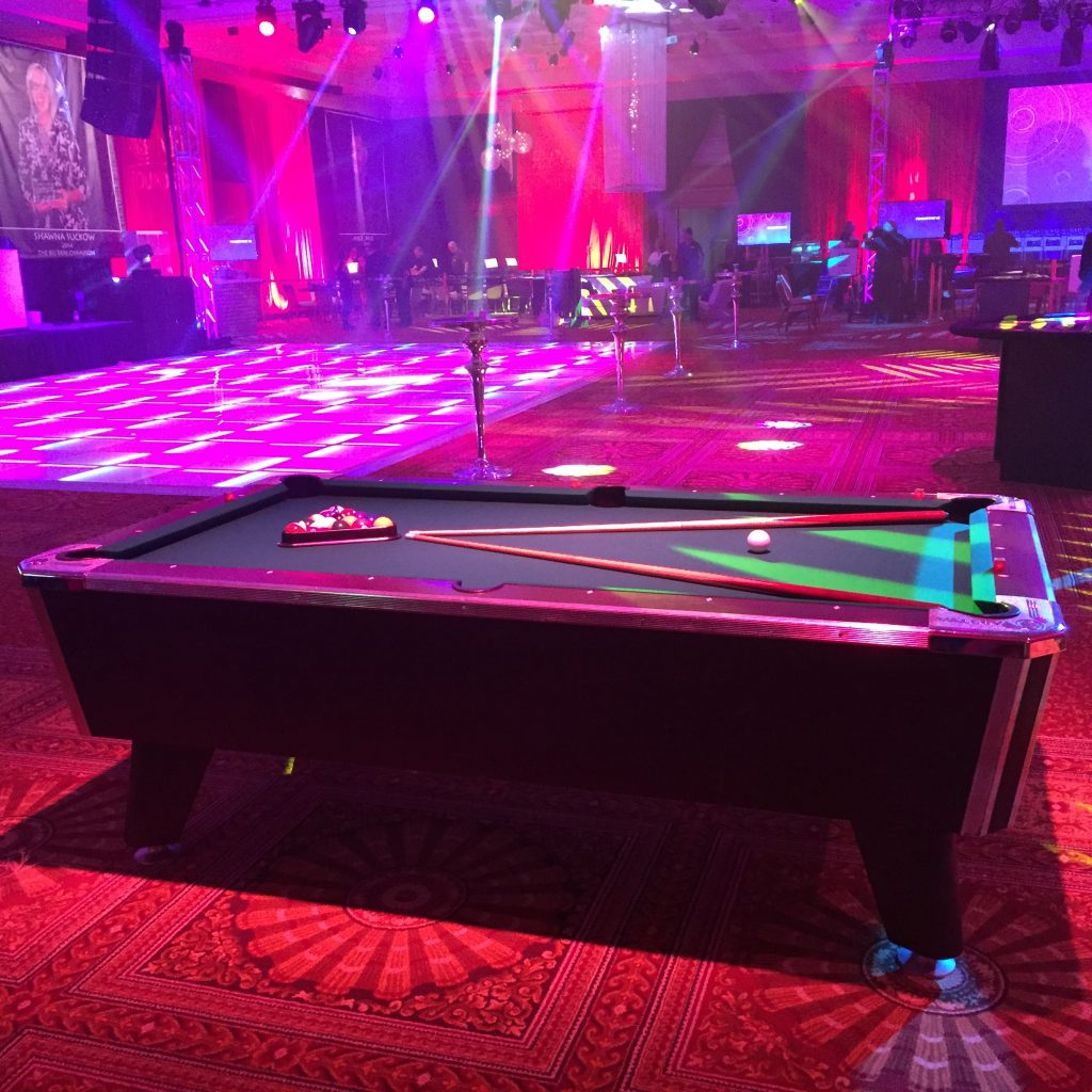 Wec pool table rental absolute amusements for Pool trade show atlantic city