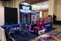 Giant Space Invaders at a trade show. This game is available for rent throughout Florida and Las Vegas.