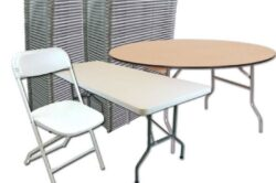 Pictured is a package of table and chair rentals available in Orlando and throughout central florida. Pictured is wood round tables, plastic banquet tables, and folding chairs.